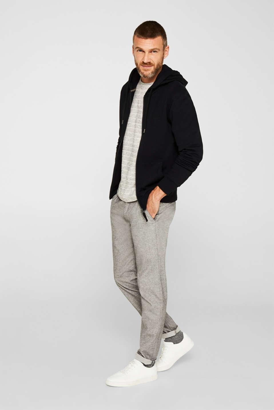 Sweatshirt cardigan with hood, 100% cotton, BLACK, detail image number 1