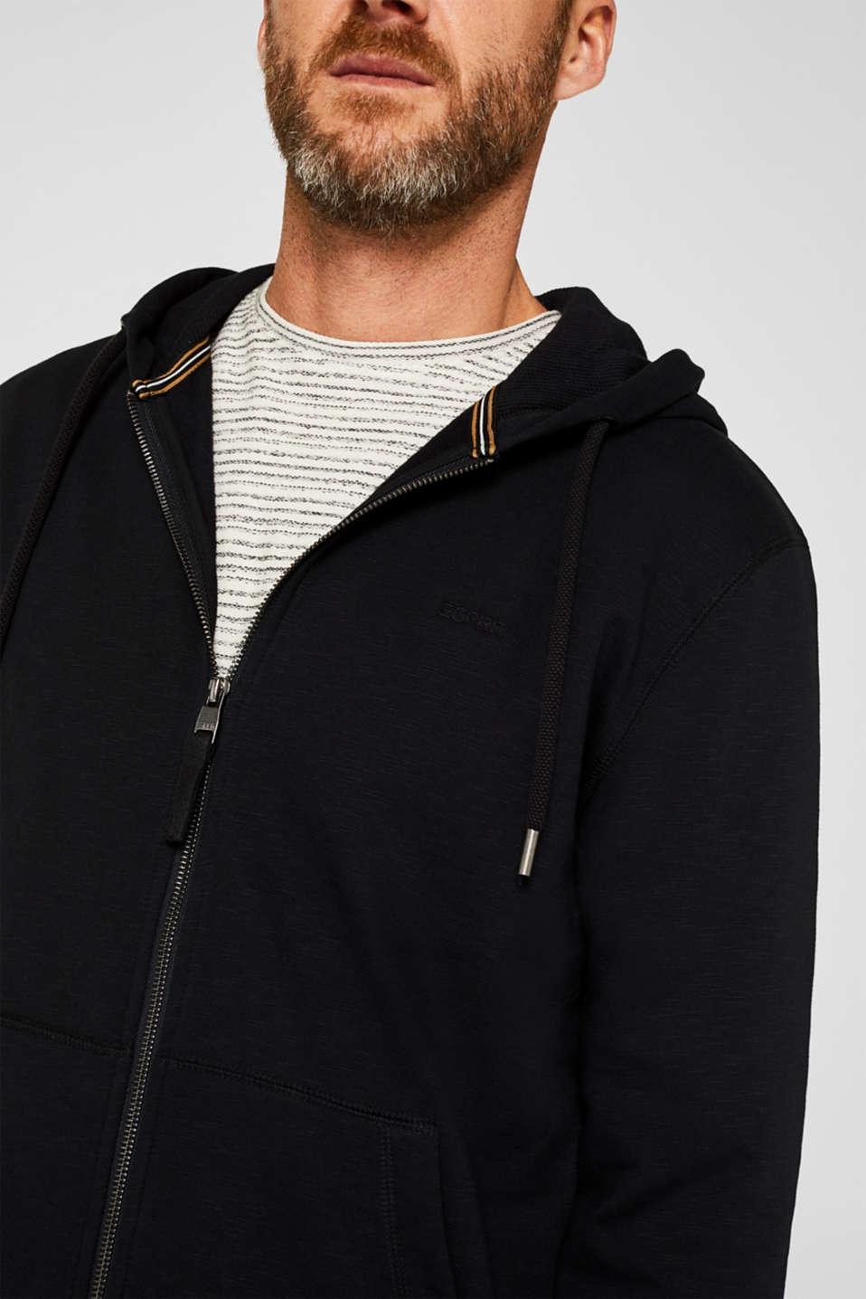 Sweatshirt cardigan with hood, 100% cotton, BLACK, detail image number 2