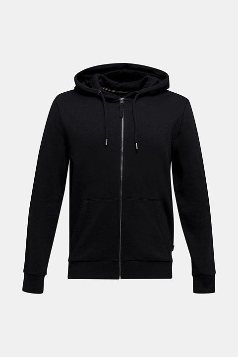 Sweatshirt cardigan with hood, 100% cotton