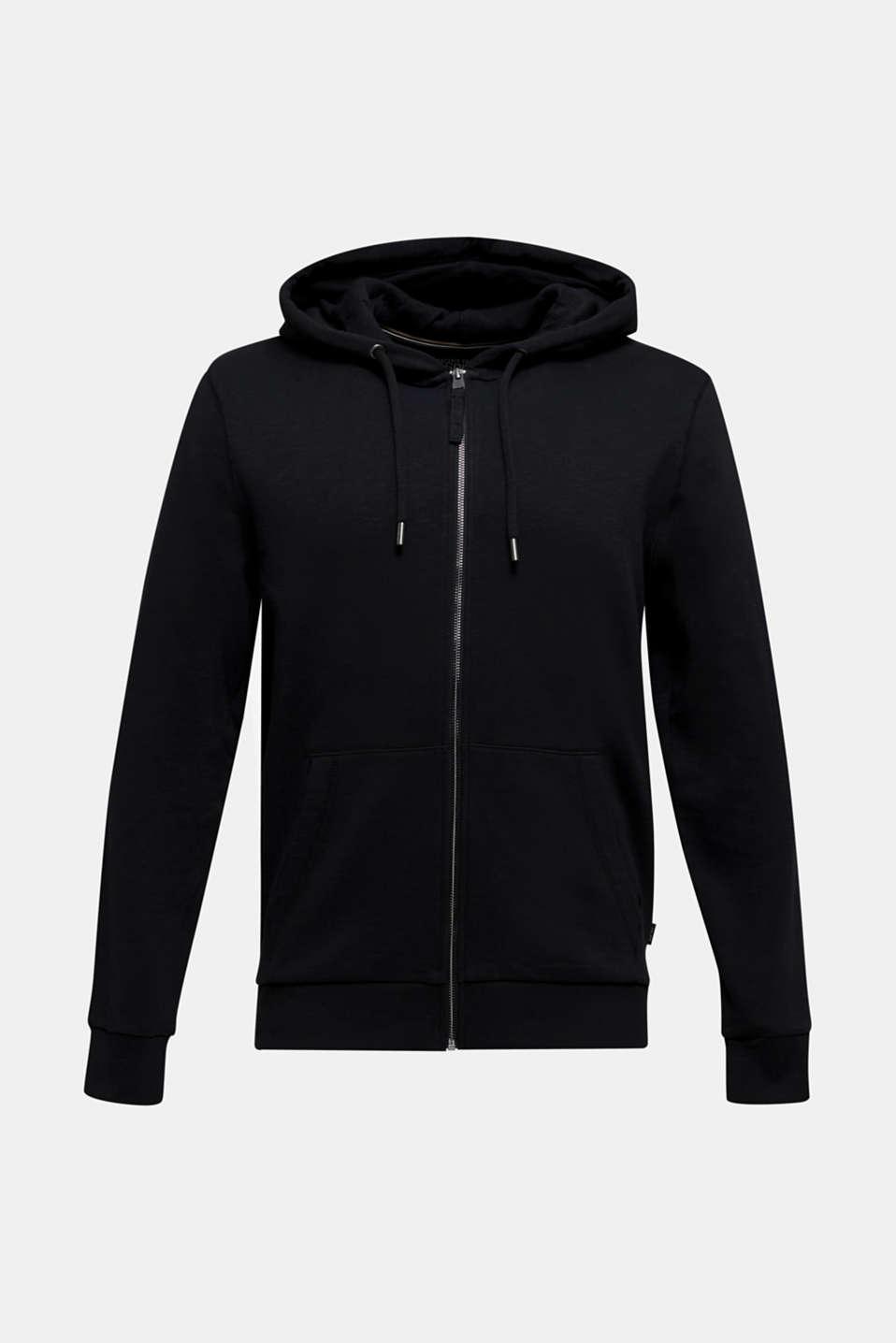 Sweatshirt cardigan with hood, 100% cotton, BLACK, detail image number 6