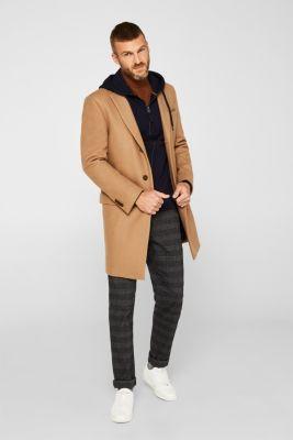 Sweatshirt cardigan with hood, 100% cotton, NAVY, detail