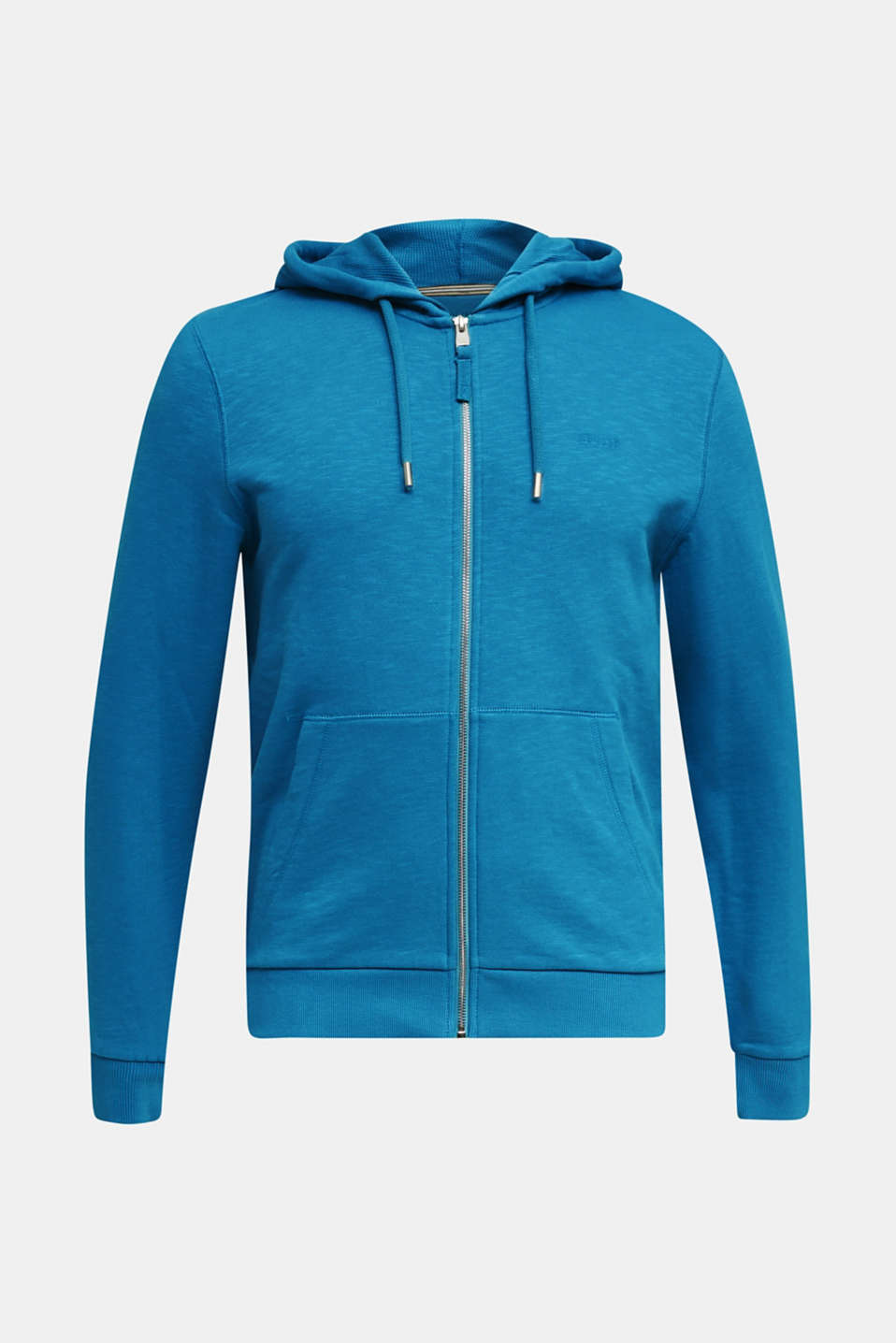 Sweatshirt cardigan with hood, 100% cotton, PETROL BLUE, detail image number 6