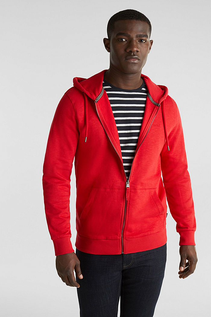 Sweatshirt cardigan with hood, 100% cotton, RED, detail image number 0