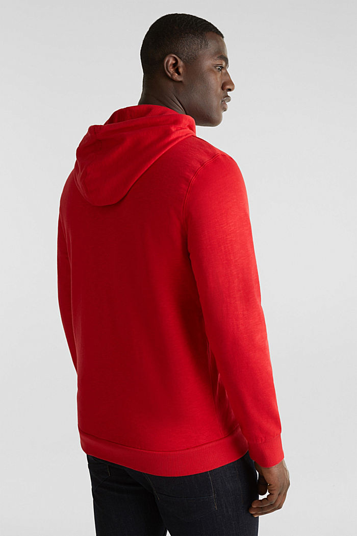 Sweatshirt cardigan with hood, 100% cotton, RED, detail image number 3