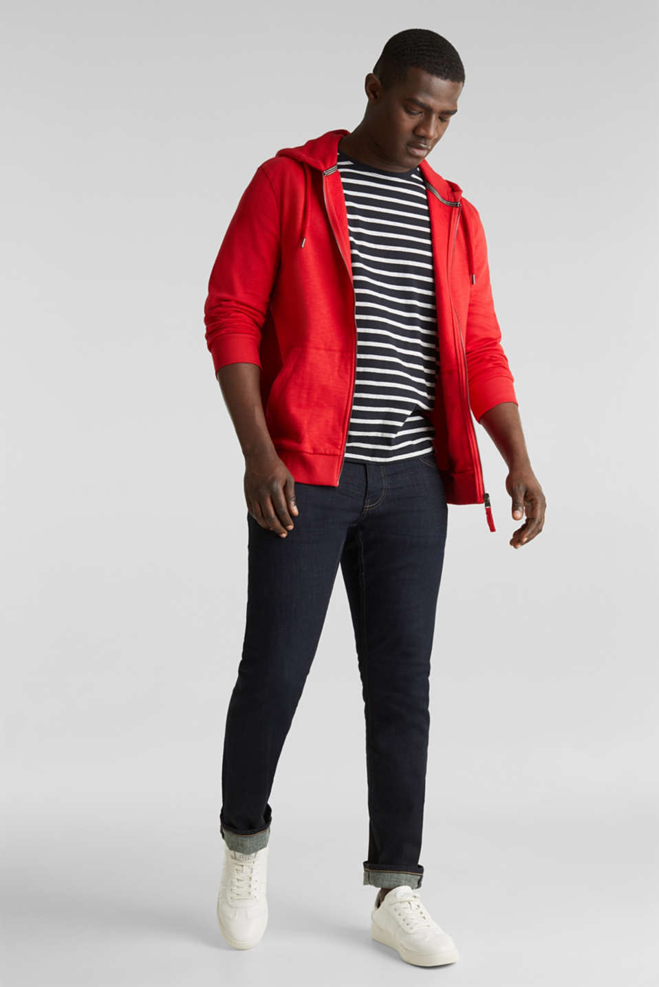 Sweatshirt cardigan with hood, 100% cotton, RED, detail image number 1