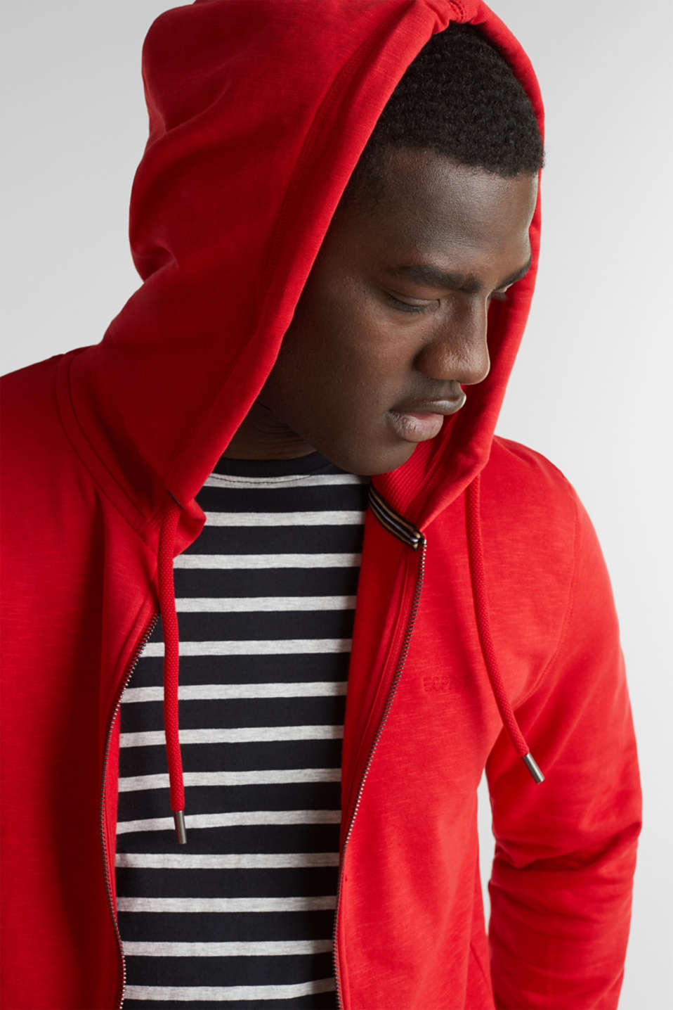 Sweatshirt cardigan with hood, 100% cotton, RED, detail image number 2