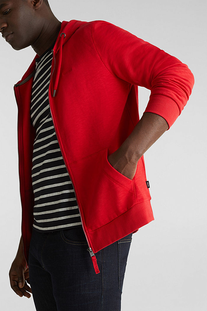 Sweatshirt cardigan with hood, 100% cotton, RED, detail image number 6