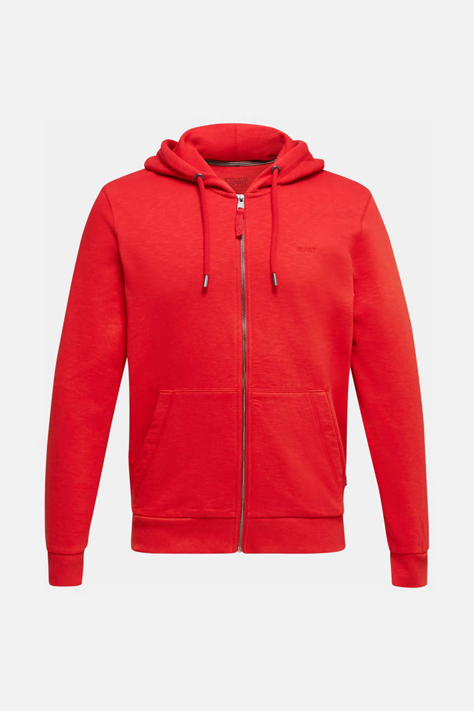 Sweatshirt cardigan with hood, 100% cotton, RED, detail image number 7