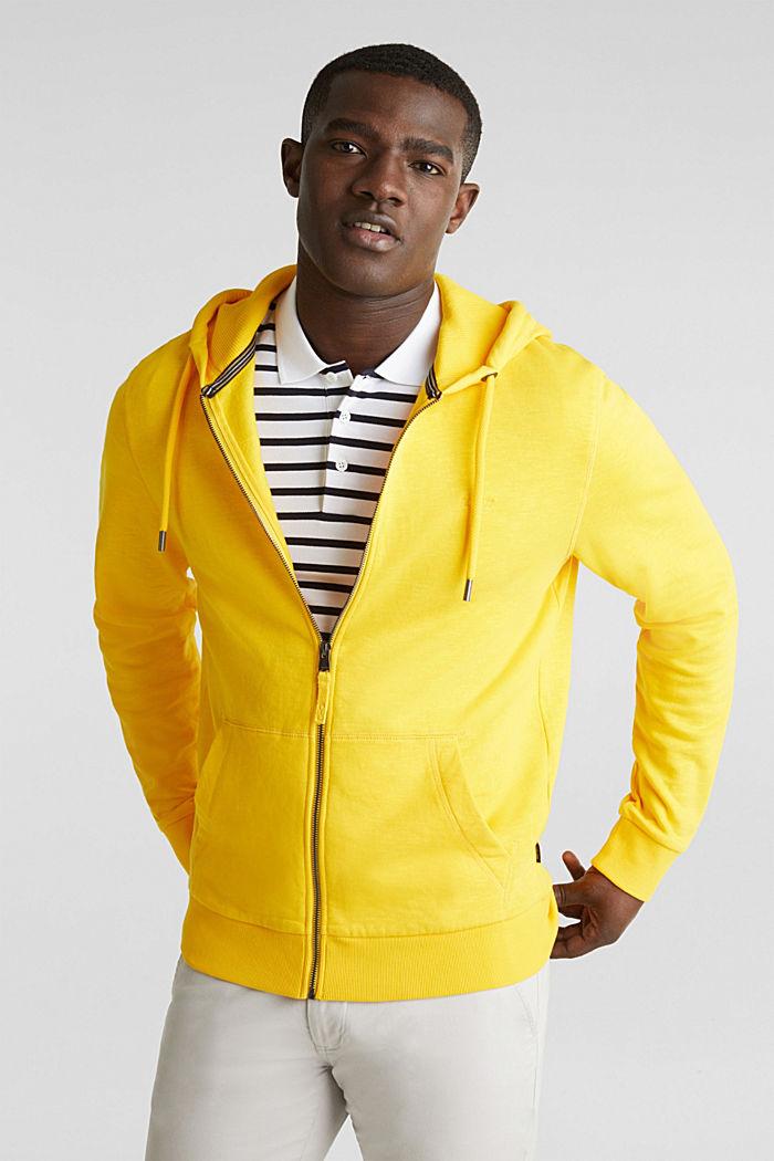 Sweatshirt cardigan with hood, 100% cotton, YELLOW, detail image number 0