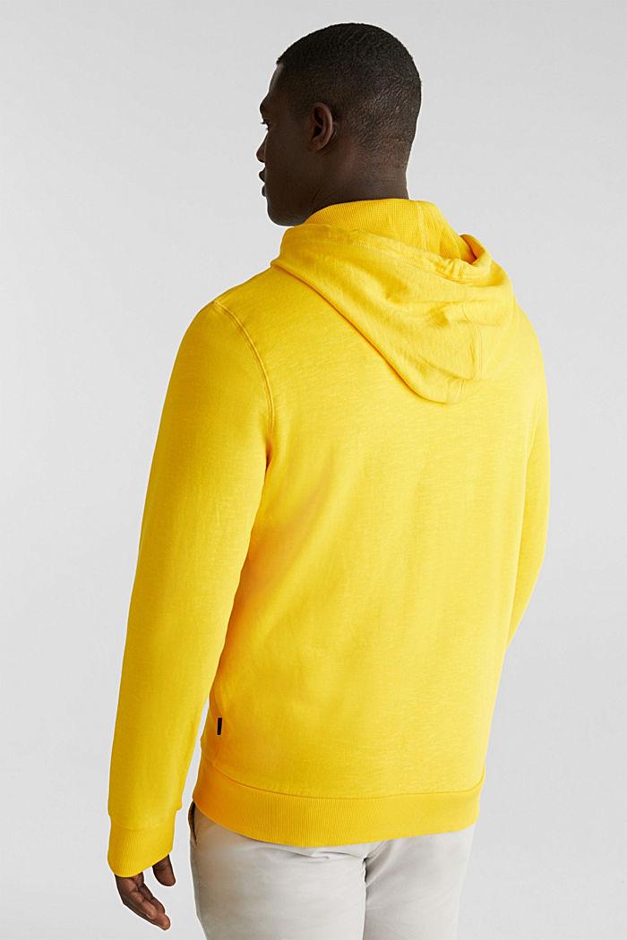 Sweatshirt cardigan with hood, 100% cotton, YELLOW, detail image number 3