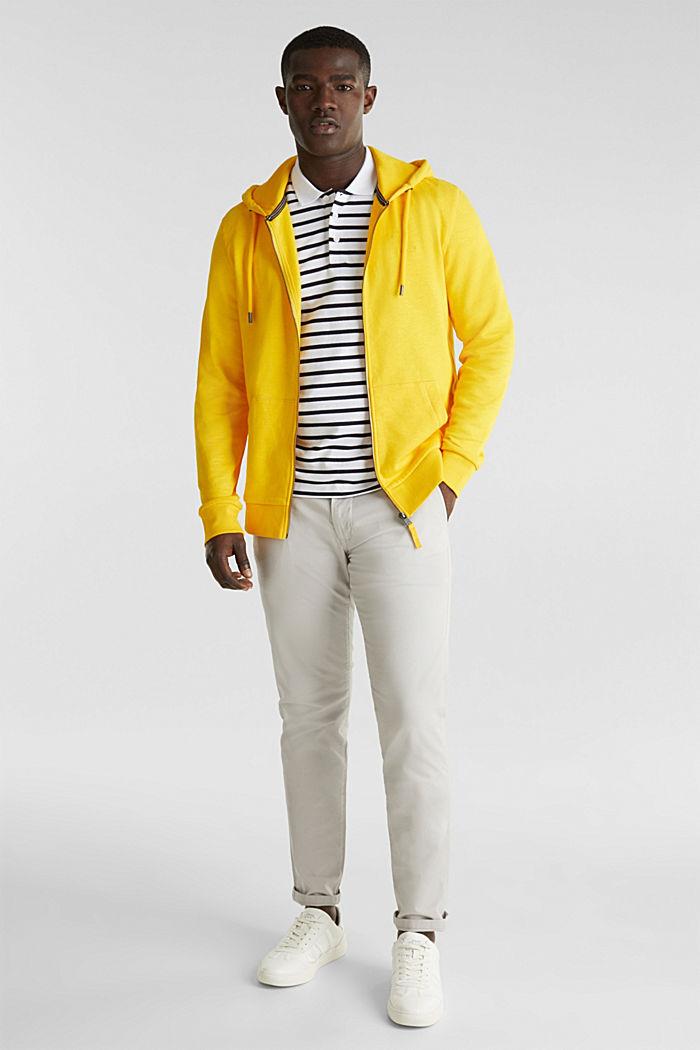 Sweatshirt cardigan with hood, 100% cotton, YELLOW, detail image number 1