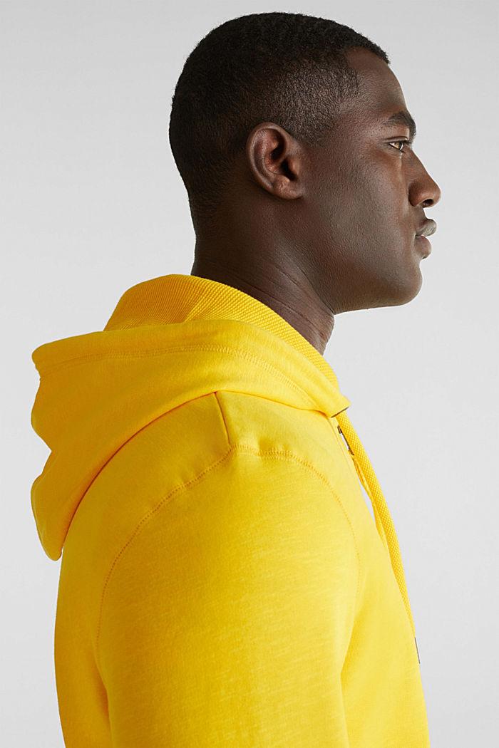 Sweatshirt cardigan with hood, 100% cotton, YELLOW, detail image number 2
