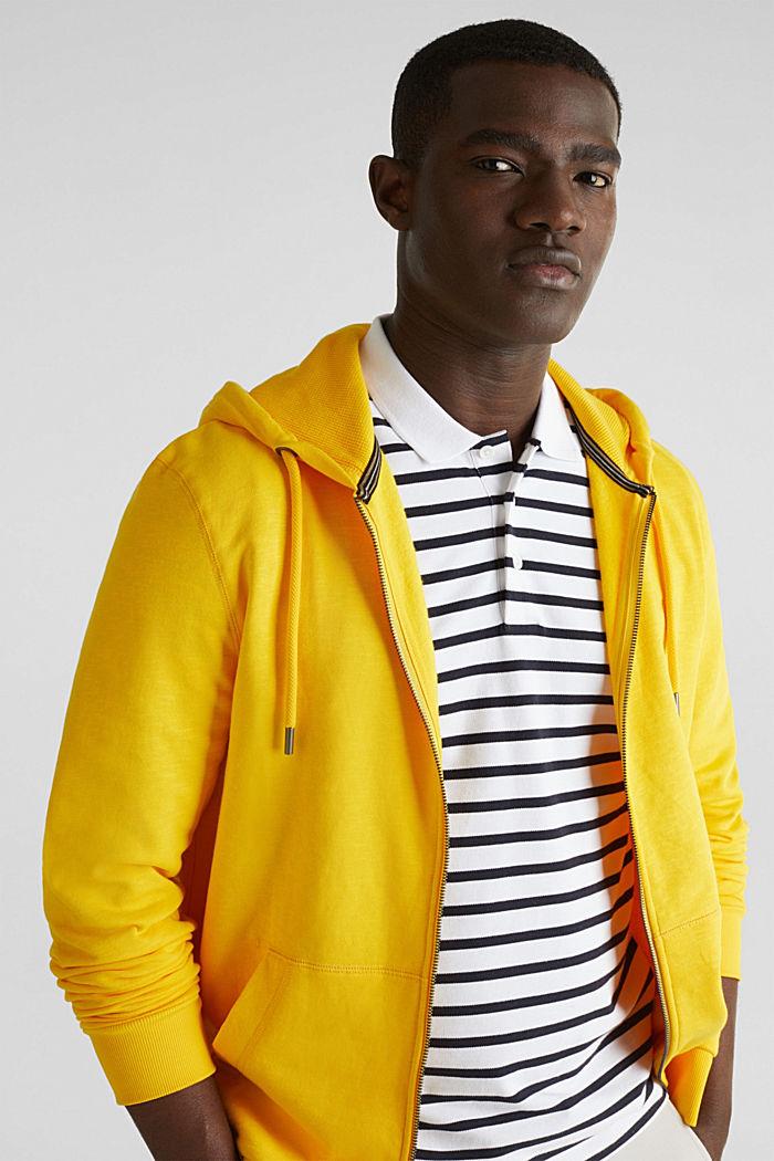 Sweatshirt cardigan with hood, 100% cotton, YELLOW, detail image number 5