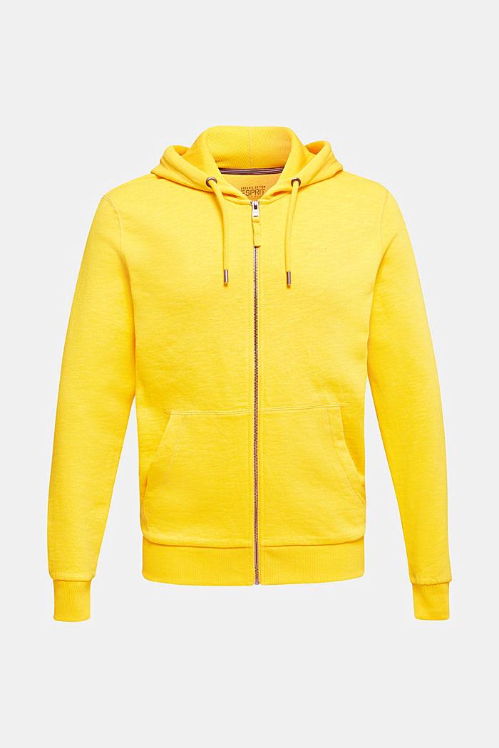 Sweatshirt cardigan with hood, 100% cotton, YELLOW, detail image number 6