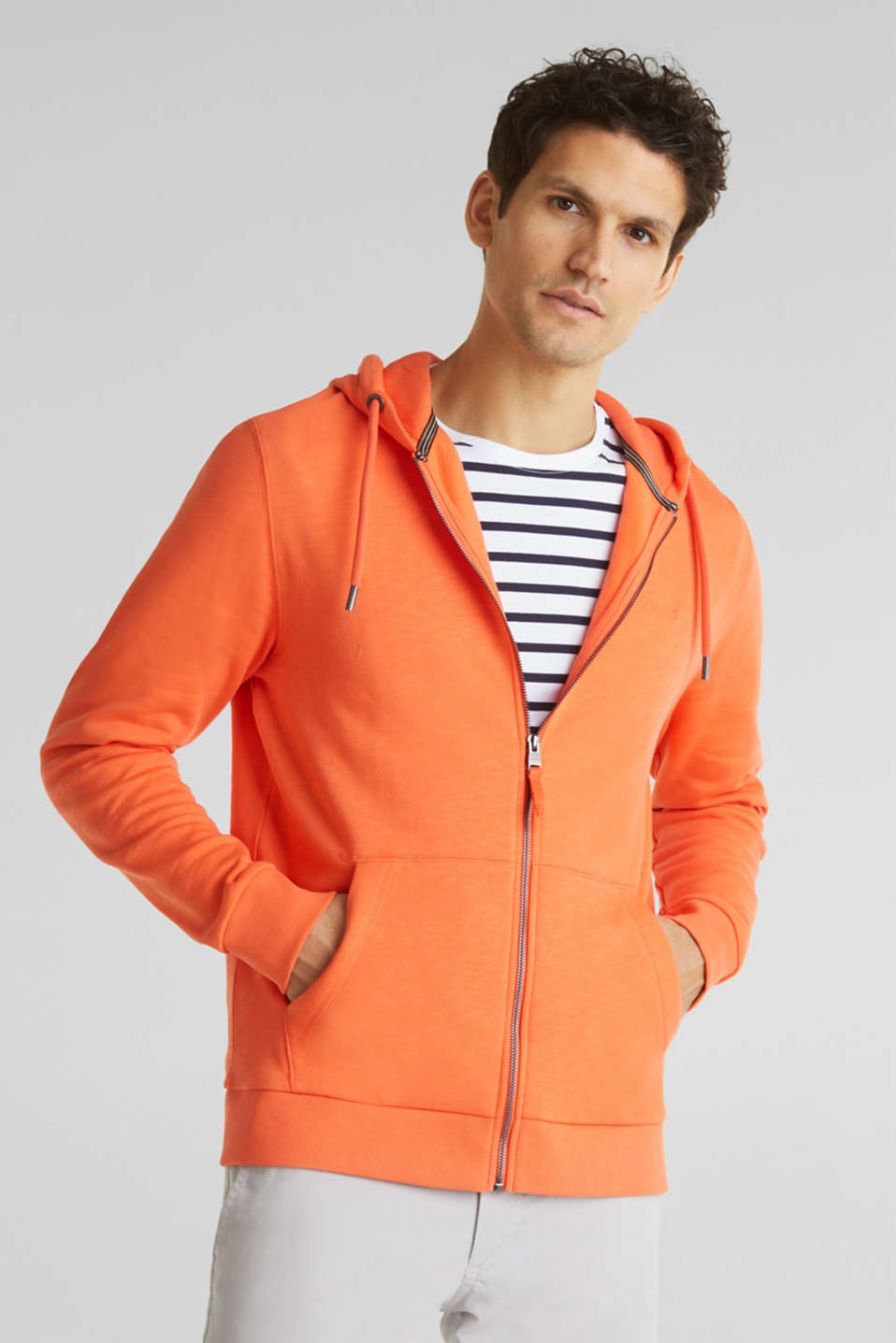 Sweatshirt cardigan with hood, 100% cotton, RUST ORANGE, detail image number 0