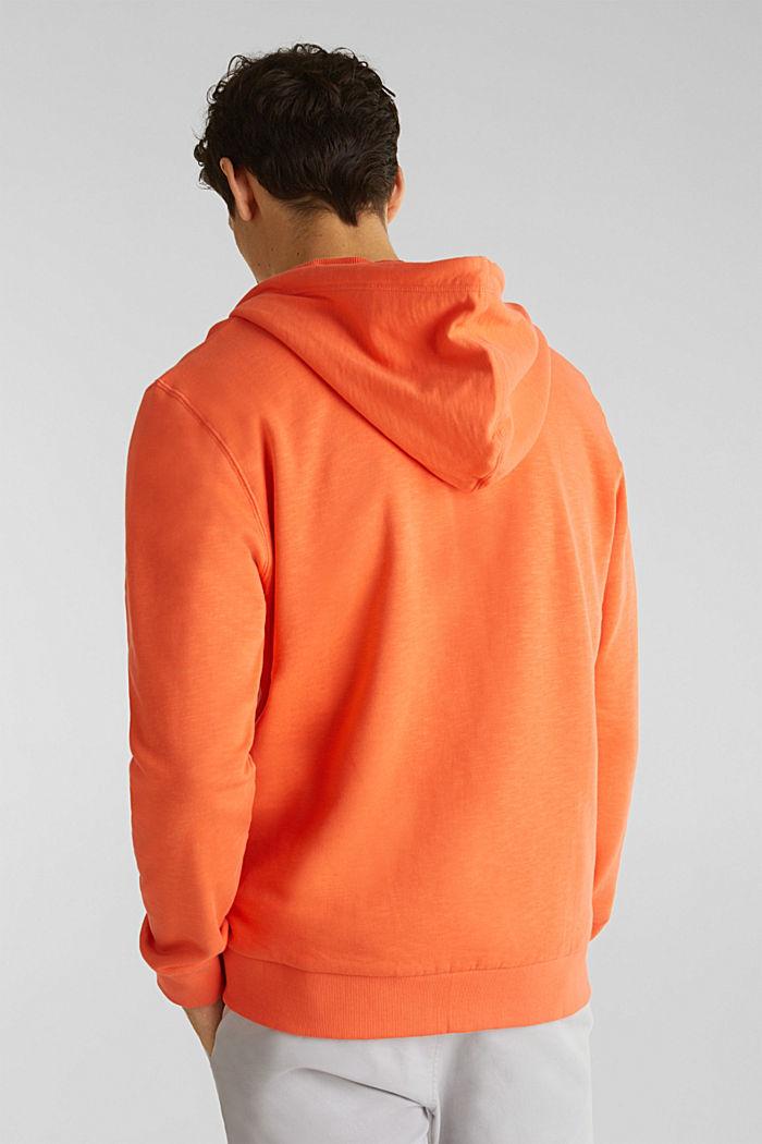 Sweatshirt cardigan with hood, 100% cotton, RUST ORANGE, detail image number 3