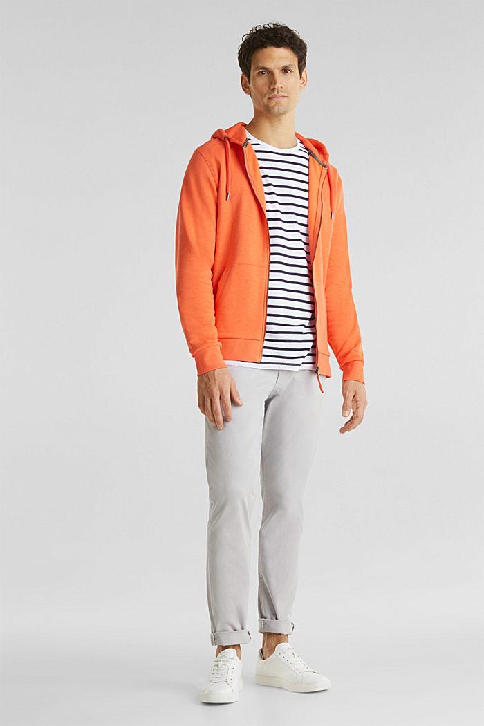 Sweatshirt cardigan with hood, 100% cotton, RUST ORANGE, detail image number 1