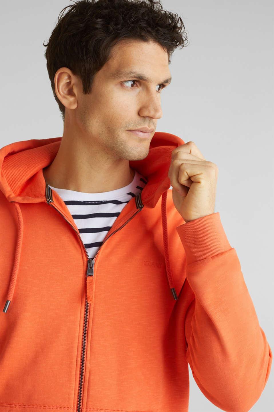 Sweatshirt cardigan with hood, 100% cotton, RUST ORANGE, detail image number 2