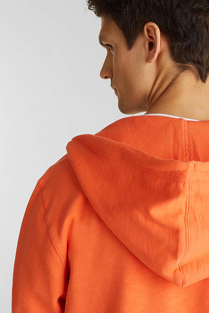 Sweatshirt cardigan with hood, 100% cotton, RUST ORANGE, detail image number 5