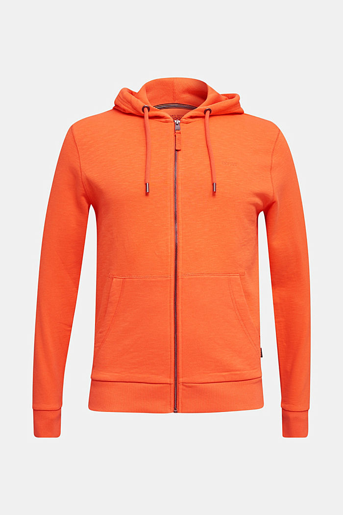 Sweatshirt cardigan with hood, 100% cotton, RUST ORANGE, detail image number 6