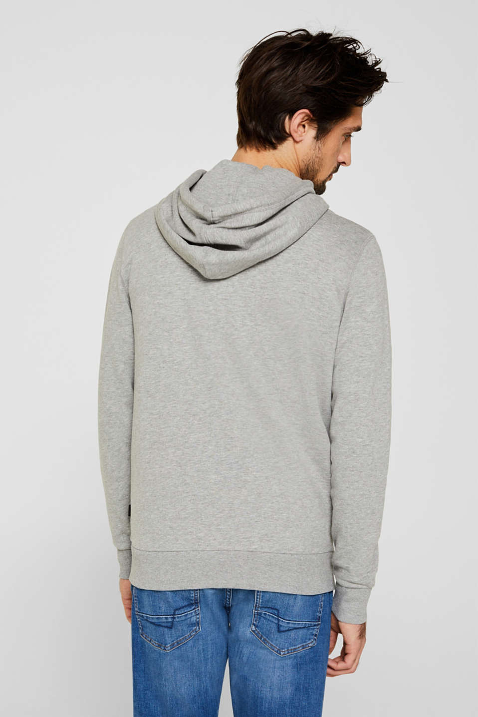 Hooded sweatshirt cardigan, MEDIUM GREY 5, detail image number 3