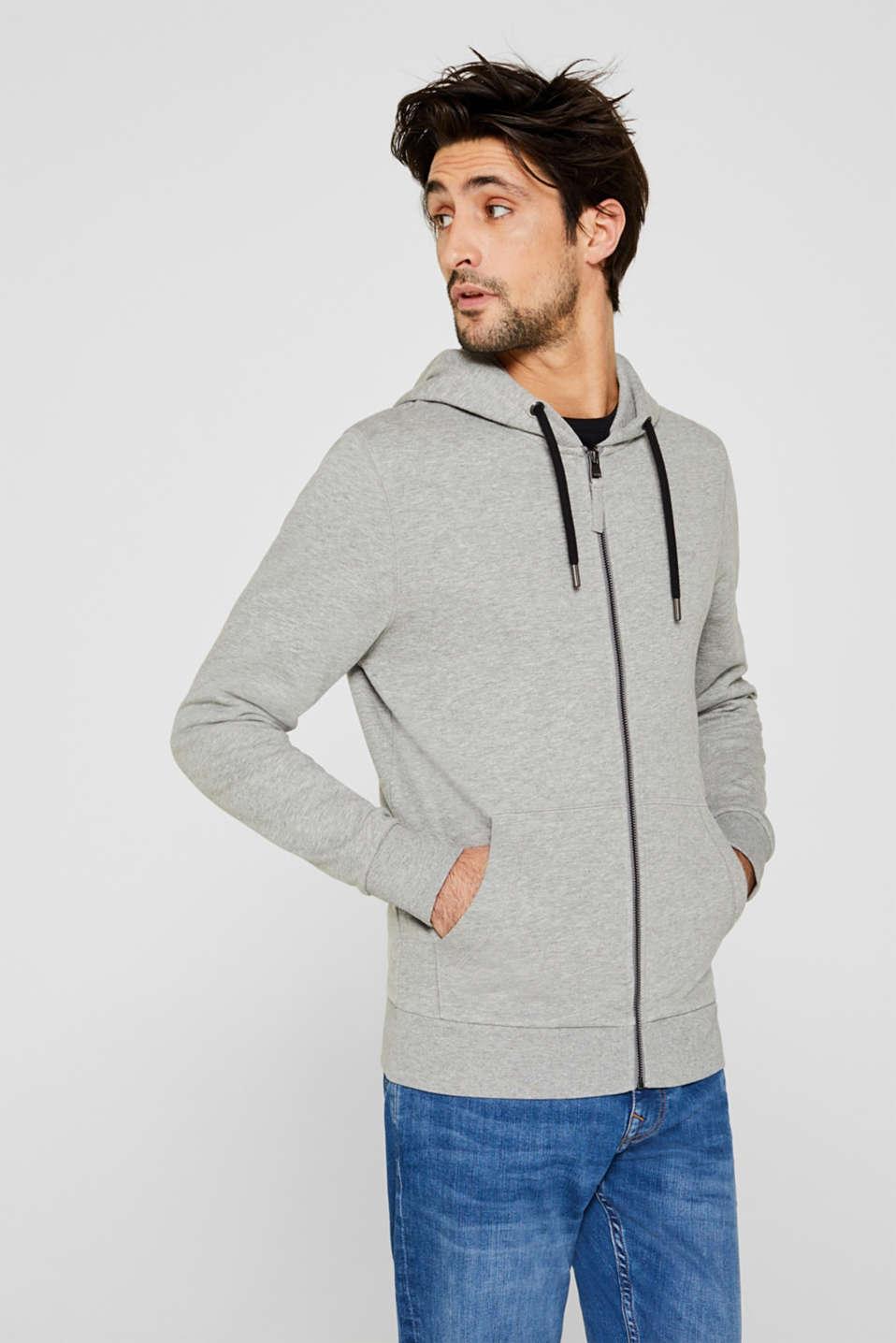 Hooded sweatshirt cardigan, MEDIUM GREY 5, detail image number 4