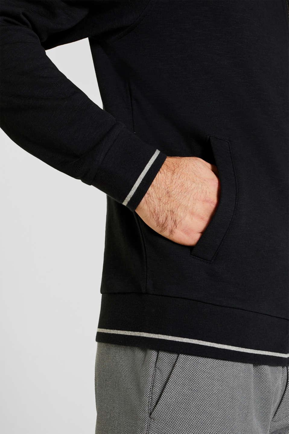 Sweatshirt cardigan in 100% cotton, BLACK, detail image number 1