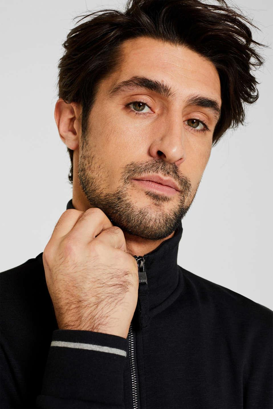 Sweatshirt cardigan in 100% cotton, BLACK, detail image number 5