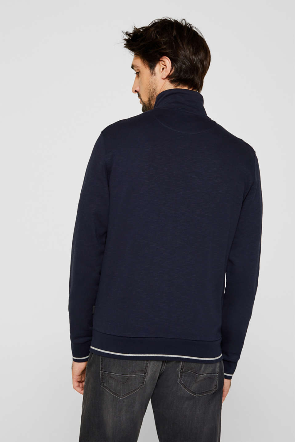 Sweatshirt cardigan in 100% cotton, NAVY, detail image number 3