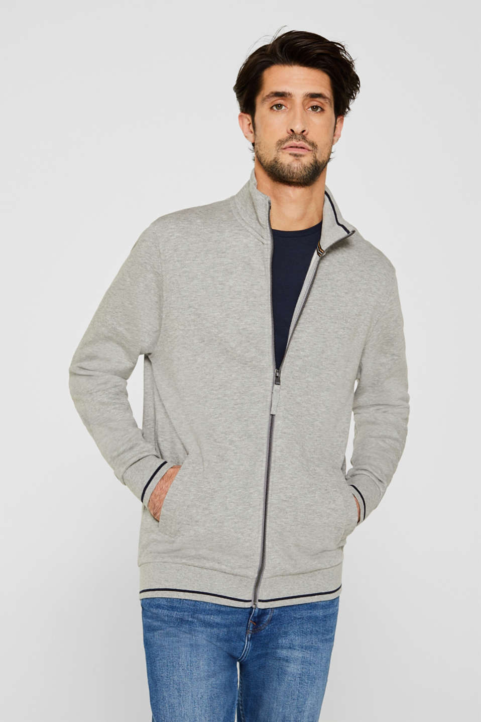 Esprit - Sweat-Cardigan aus Baumwoll-Mix