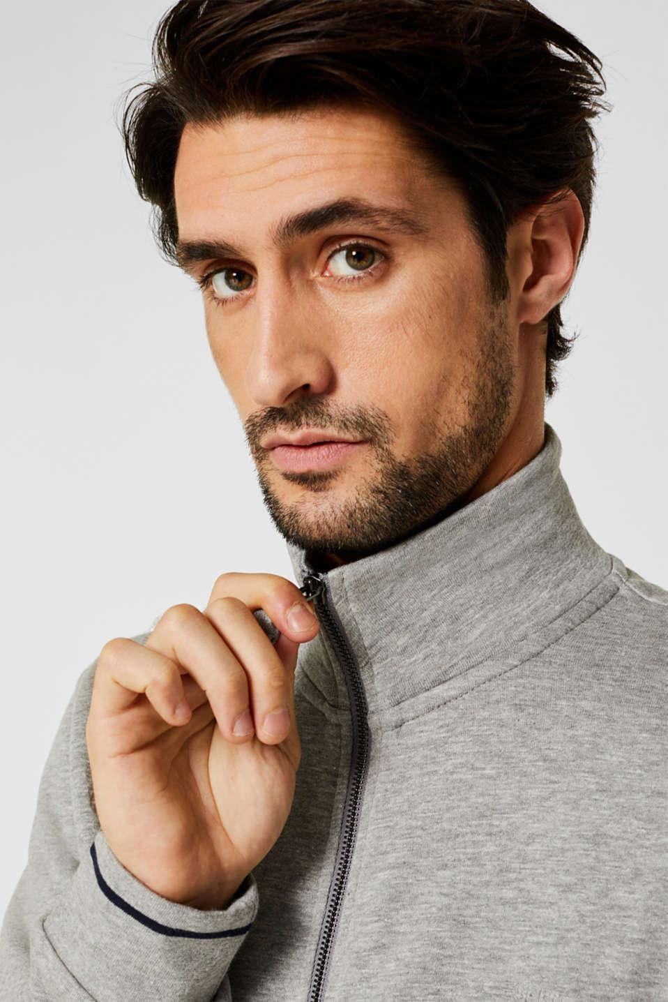 Cotton blend sweatshirt cardigan, MEDIUM GREY 5, detail image number 2