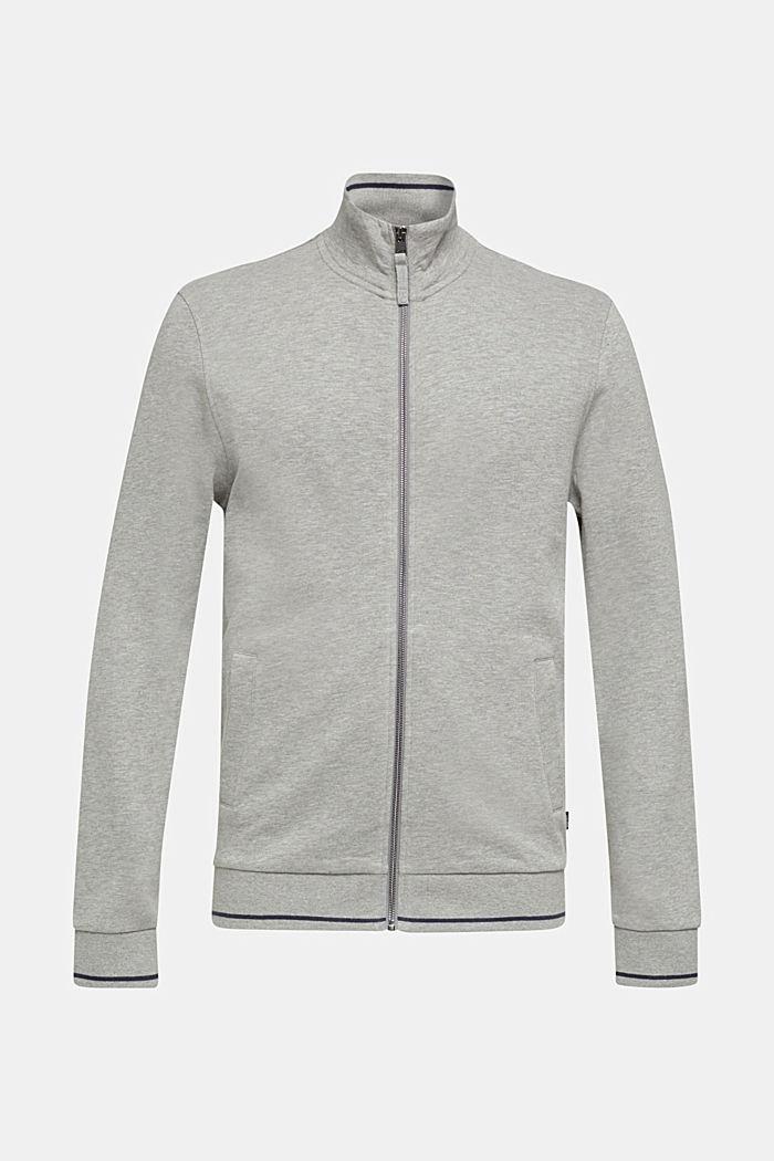 Cotton blend sweatshirt cardigan, MEDIUM GREY 5, detail image number 0