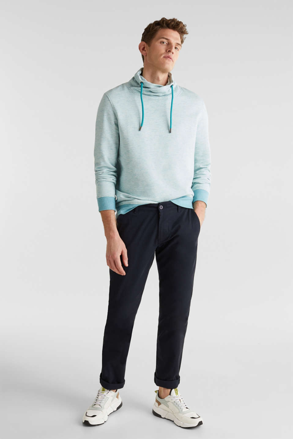 Textured jumper with a drawstring collar, TEAL BLUE 5, detail image number 1