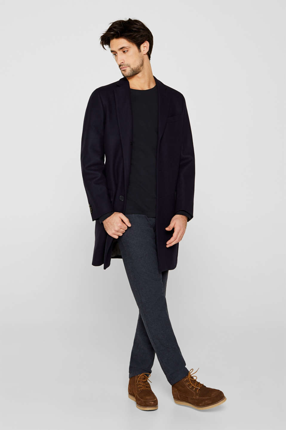 Long sleeve jersey top in 100% cotton, BLACK, detail image number 1