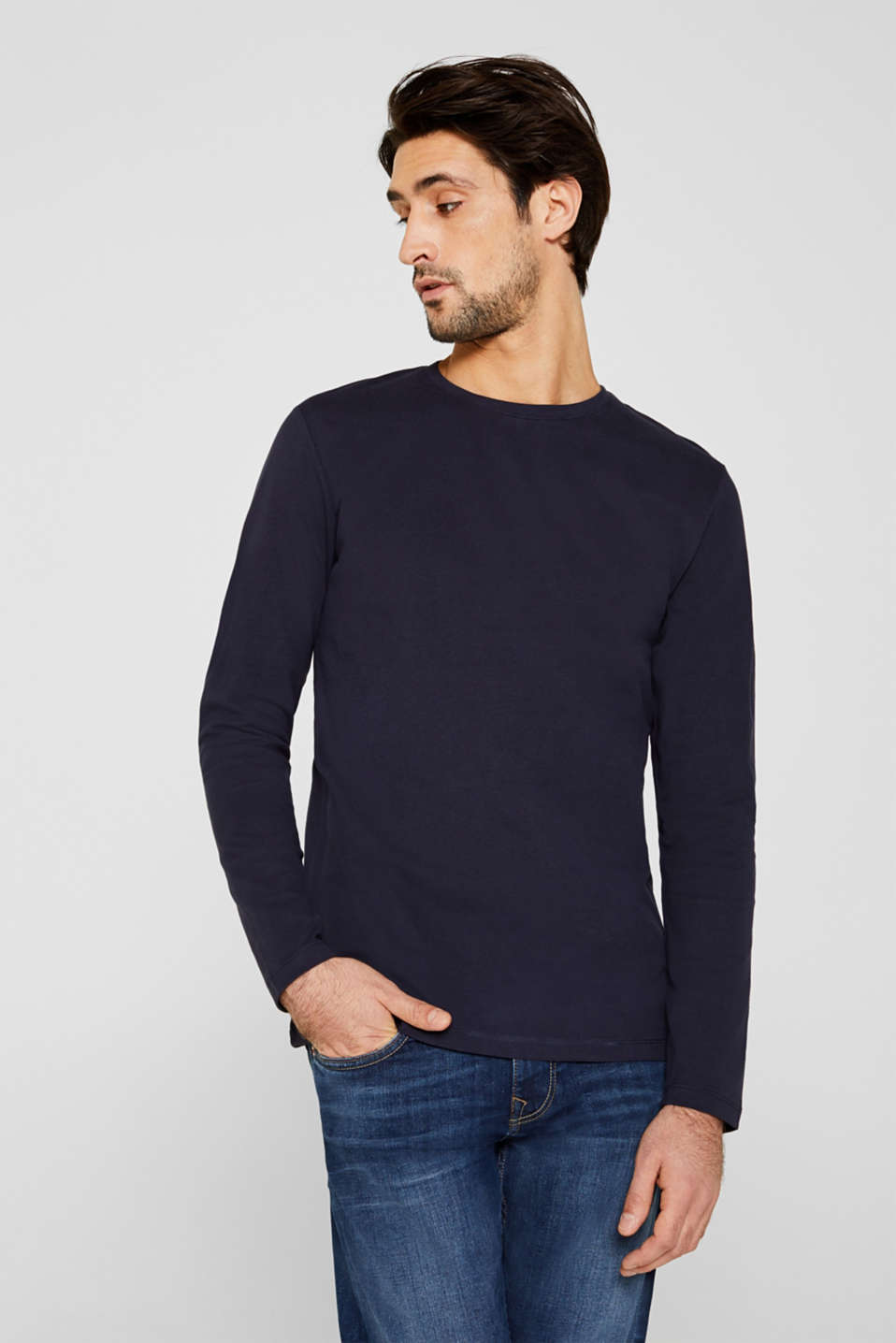 Long sleeve jersey top in 100% cotton, NAVY, detail image number 0