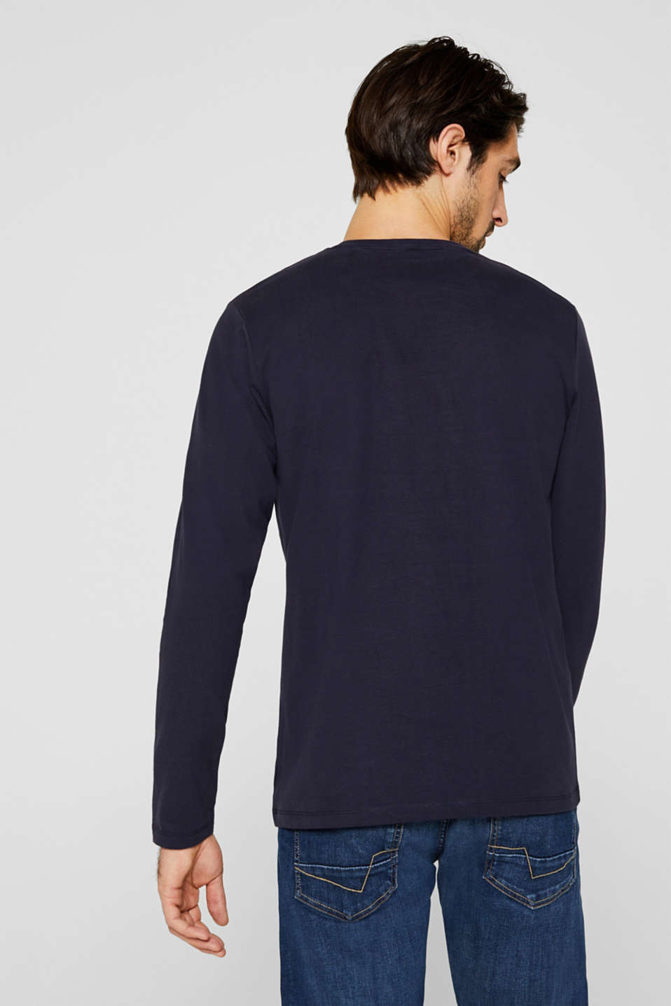 Long sleeve jersey top in 100% cotton, NAVY, detail image number 3