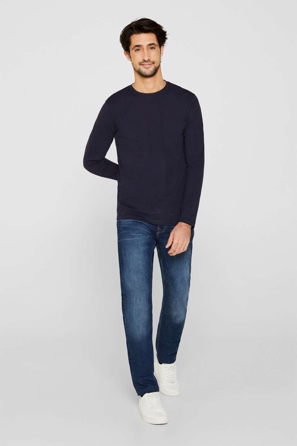 Long sleeve jersey top in 100% cotton, NAVY, detail image number 2