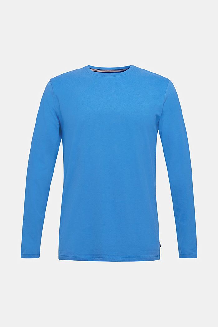 Long sleeve jersey top in 100% cotton, BRIGHT BLUE, detail image number 0