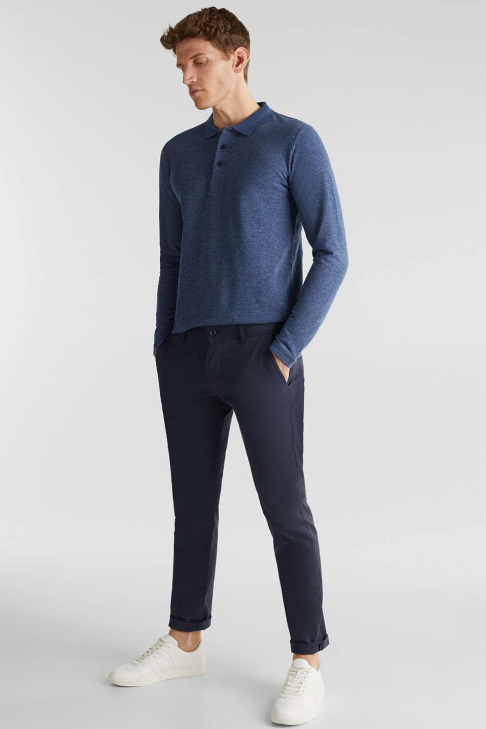 Long sleeve polo shirt in melange piqué, NAVY 5, detail image number 2