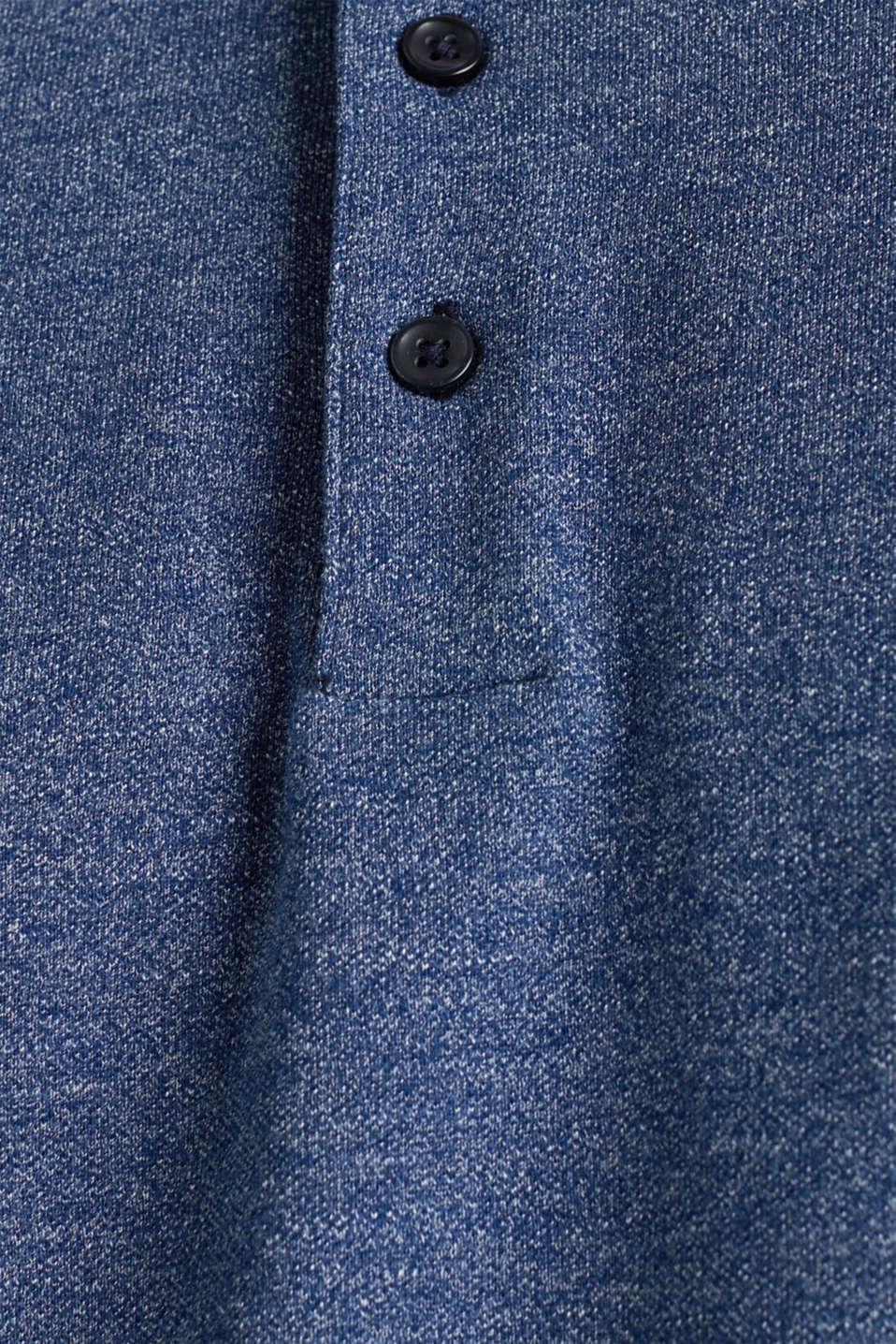 Long sleeve polo shirt in melange piqué, NAVY 5, detail image number 4
