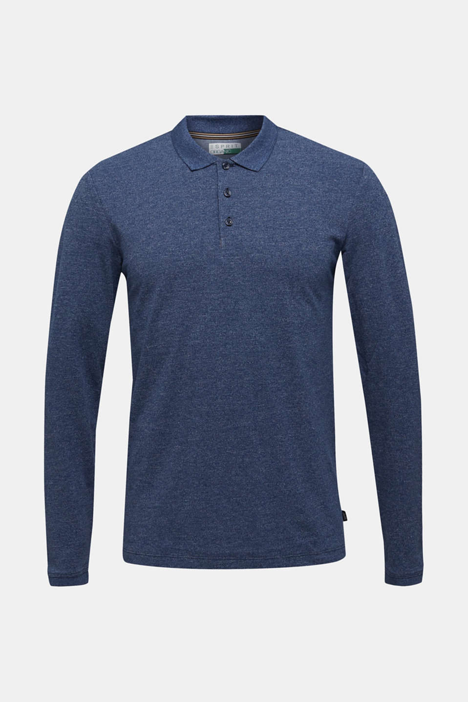 Long sleeve polo shirt in melange piqué, NAVY 5, detail image number 5