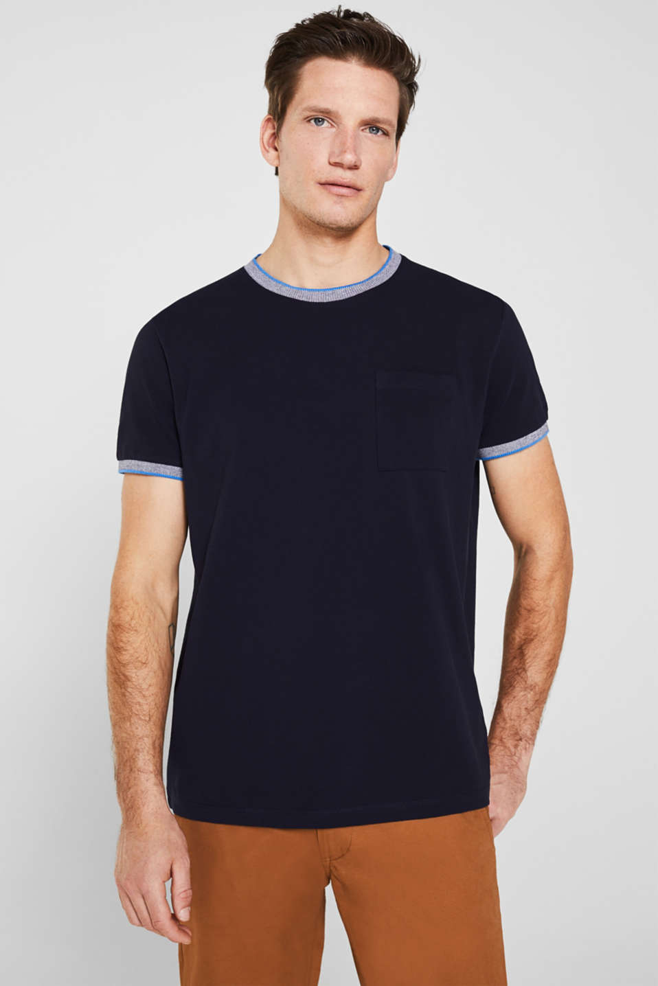 Piqué T-shirt with decorative trims, NAVY, detail image number 0