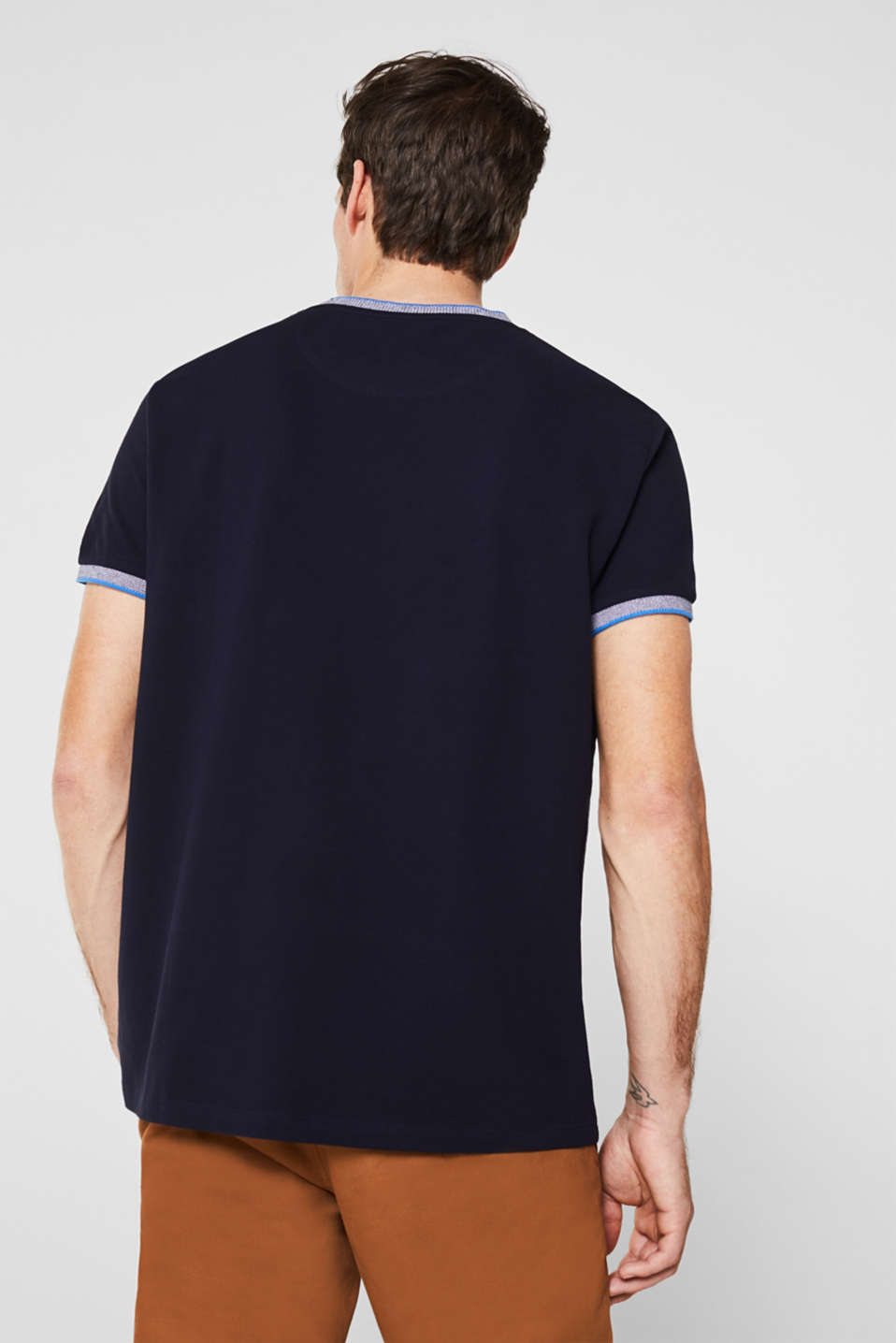 Piqué T-shirt with decorative trims, NAVY, detail image number 2