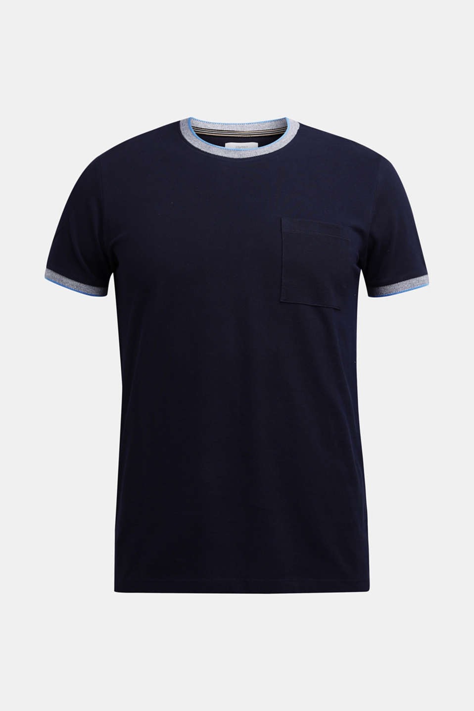 Piqué T-shirt with decorative trims, NAVY, detail image number 7