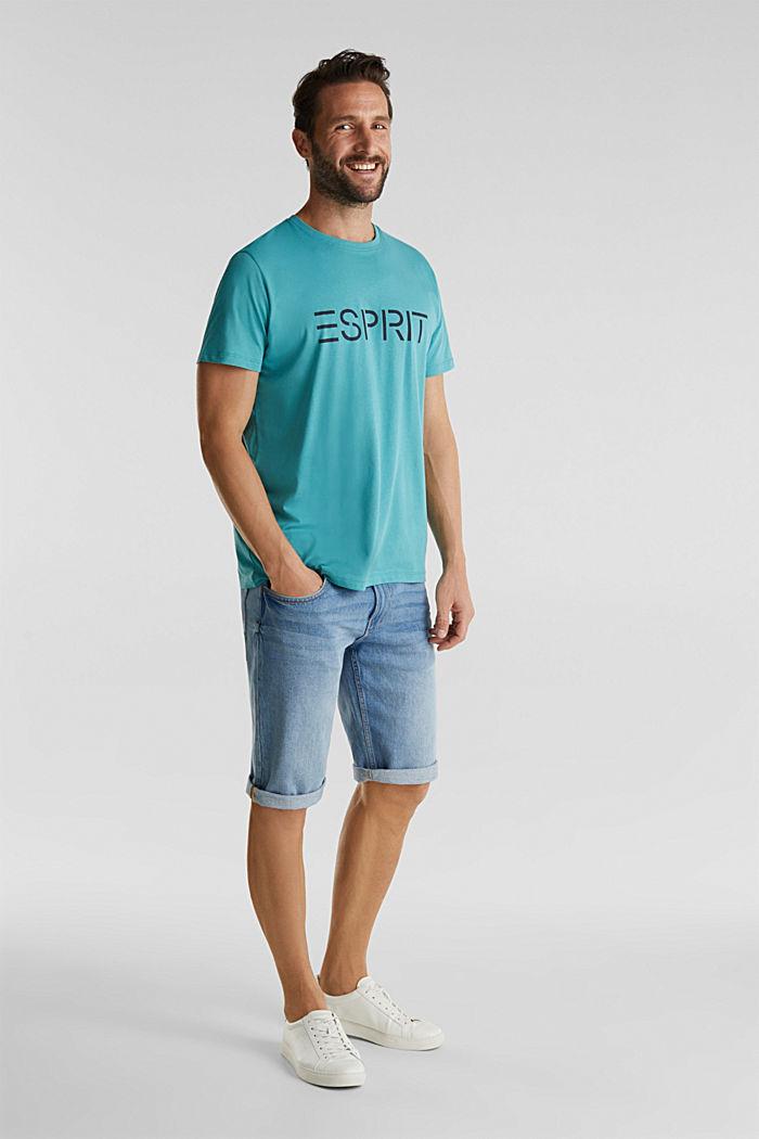 Jersey T-shirt met logo, 100% katoen, DUSTY GREEN, detail image number 2