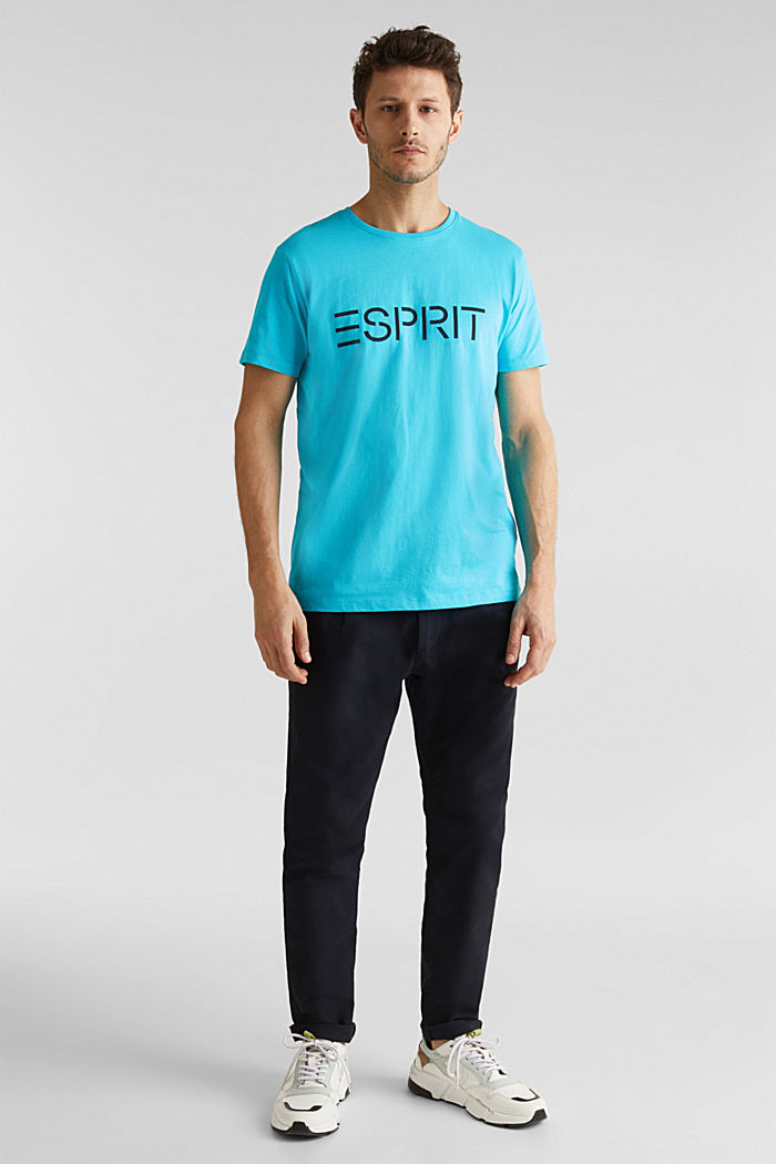 Jersey logo T-shirt, 100% cotton, AQUA GREEN, detail image number 2