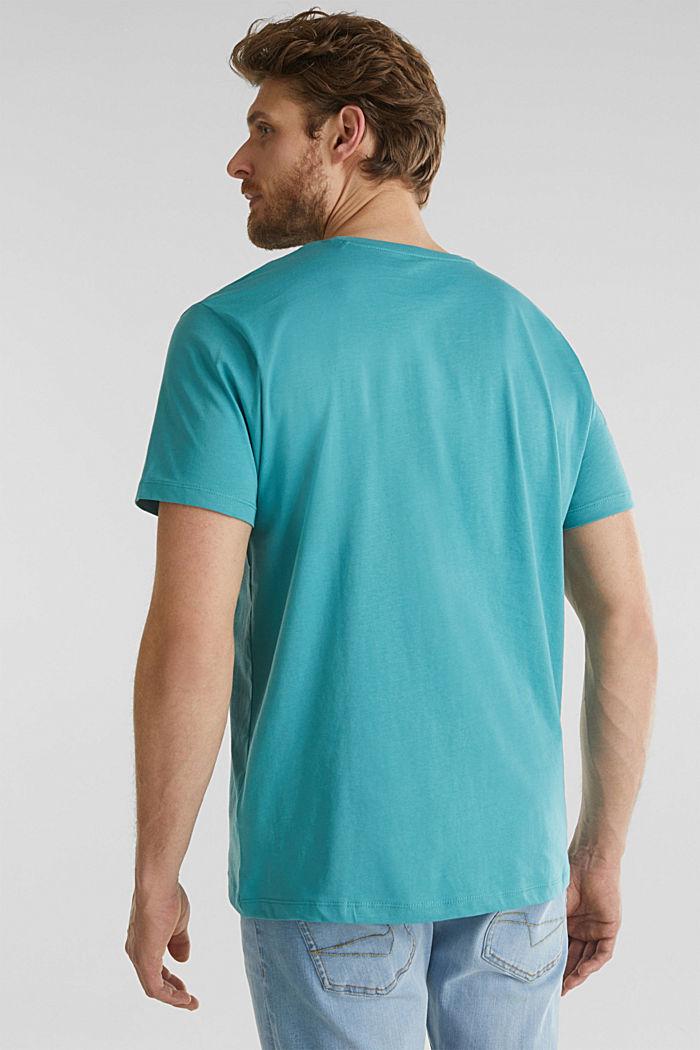 Jersey logo T-shirt, 100% cotton, TEAL BLUE, detail image number 3
