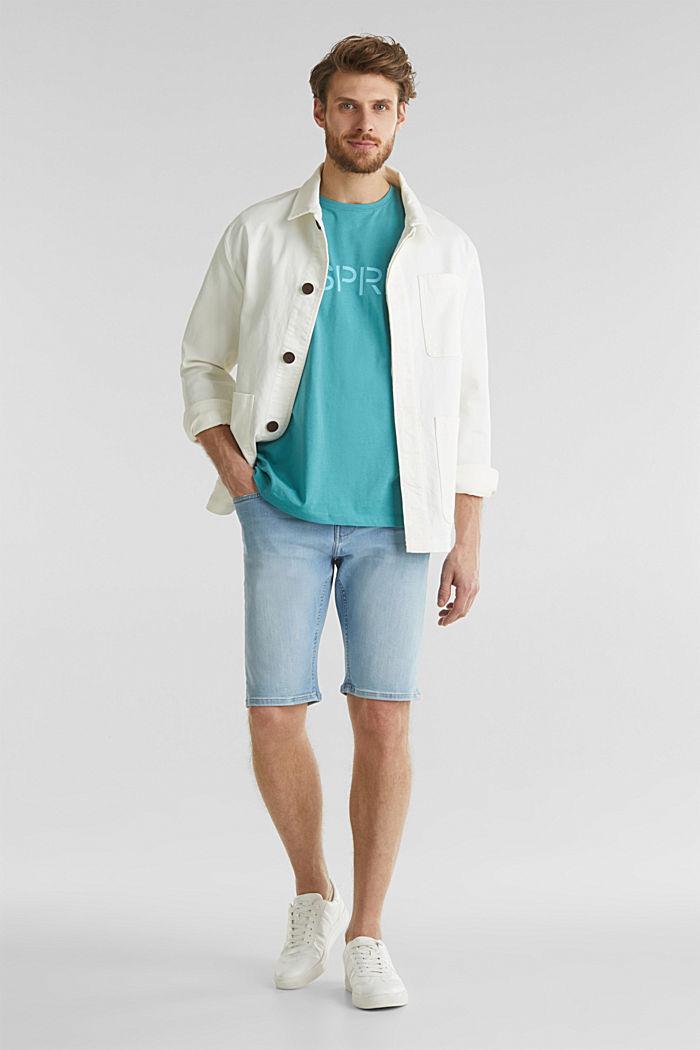 Jersey logo T-shirt, 100% cotton, TEAL BLUE, detail image number 2