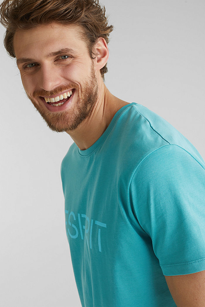 Jersey logo T-shirt, 100% cotton, TEAL BLUE, detail image number 1