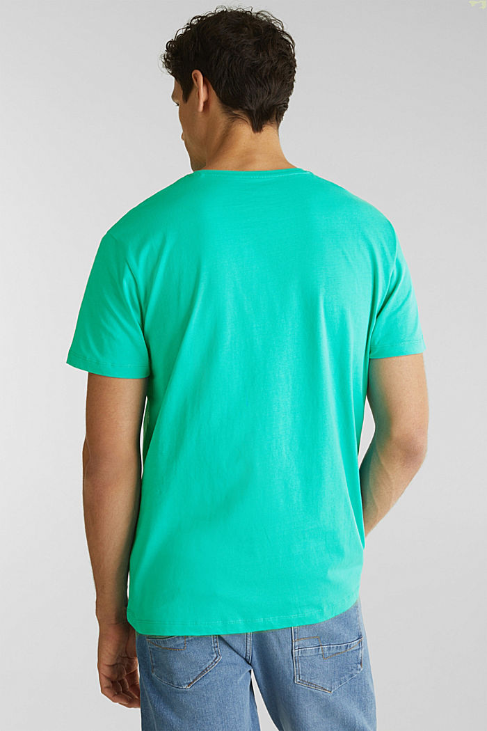T-shirt in jersey con logo, 100% cotone, LIGHT TURQUOISE, detail image number 2